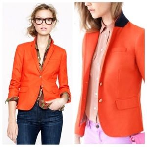 JCrew Schoolboy Linen Blazer in Tangerine Red
